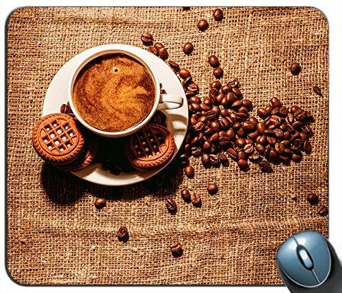 Kaffee und Kaffeebohnen Tasse Kekse personalisierte Rechteck Maus Pad Maus Matte