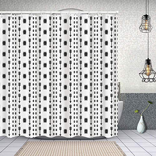 Shower Curtain with 12 Hooks,Arrows Pattern with Ornaments Vintage Style Bohemian Artwork,Waterproof Fabric Decorative Bath Curtains Machine Washable for Bathroom 150X180cm