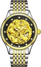 KRFRL Golden Automatic Mechanical Watch Luxury Full Hollow Business Waterproof Men's Watch, Horse Pattern, Diameter 40.5mm (Color : D)