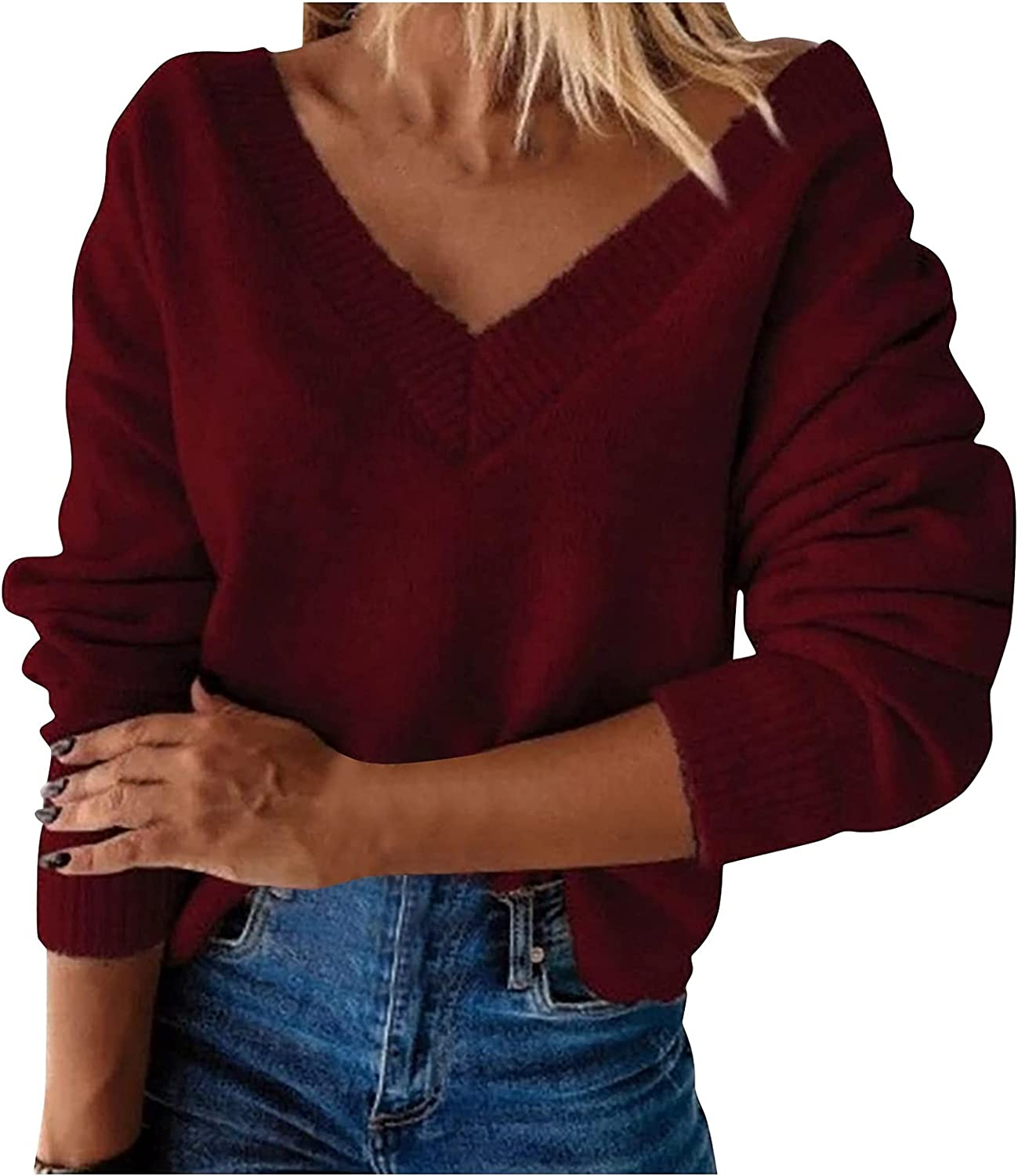 MINEMIN Knit Pullover Sweater Women Sheep Fleece Long Sleeve V-Neck Solid Color Loose Sweaters