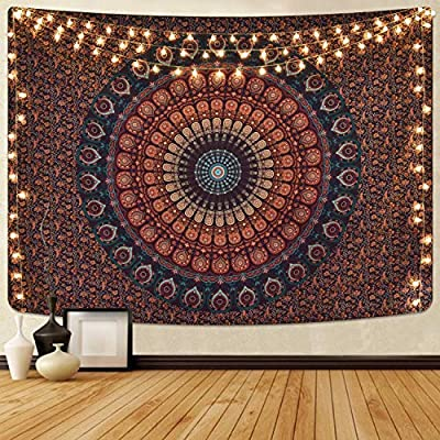 Bohemian Mandala Tapestry Hippie Tapestries Psychedelic Peacock Boho Tapestry Wall Hanging for Bedroom(51.2 x 59.1 inches)