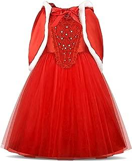 Acecharming Cinderella Princess Girls Dress Cosplay Fancy Costume Party Girls Wedding Dress Up with Fur Trim Cape