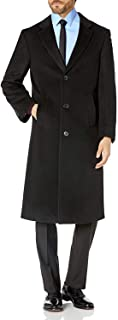 Prontomoda Men's Single Breasted Black Luxury Wool/Cashmere Full Length Topcoat