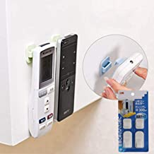 Remote Control Holder Hook,2 Pair Wall Mount Storage Sticky White Plastic Hook with Strong Self Adhesive and Hanging Buckle, TV Air Conditioner Remote Control Keys Organizer Hanger