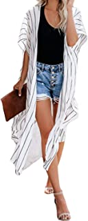 Women Striped Roll-up Sleeve Open Front Cardigan Kimono...