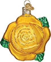 Old World Christmas Glass Blown Ornament with S-Hook and Gift Box, Flower Collection Yellow Rose
