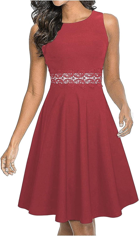 GANTIAN Womens Simple Solid Vintage Dress Elegant Midi Evening D