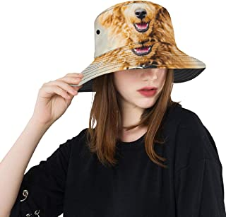 Autumn Golden Dog Animal New Summer Unisex Cotton Fashion Fishing Sun Bucket Hats for Kid Teens Women and Men with Customize Top Packable Fisherman Cap for Outdoor Travel