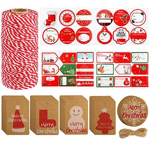 328 Pies de Cordel de Navidad Etiquetas Colgantes de Navidad y Pegatinas de Etiquetas para Bolsa Envoltura Kit de Accesorios de DIY