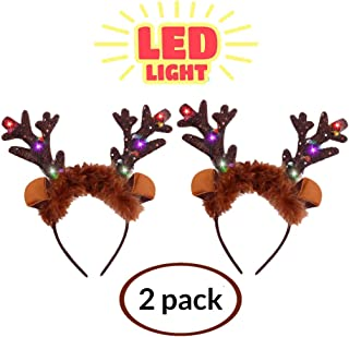 Deer Antlers Headband Light Up Reindeer Antlers Headband Led Christmas Headband for Women Christmas Gifts for Girls Christmas Party Favors