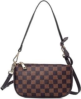 Checkered Cell Phone Crossbody Purse for Women Retro Monogram Pu Leather Mini Shoulder Bag Handbag Clutch Wallet