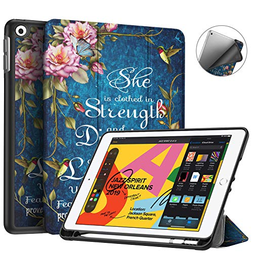 iPad 7th Generation Case,iPad 10.2 Case 2019,BOSLIVE Bible Verse Proverbs 31:25 Flower Design Slim Stand Folio Case with Pencil Holder,Auto Sleep/Wake Back Smart Soft TPU Case for iPad 7th 10.2' 2019