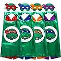 Zaleny Ninja Turtle Cartoon Costumes for Kids TMNT Dress up Costumes 4 Satin Capes 4 Felt Masks