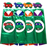 Zaleny Superhero TMNT Cartoon Costumes Kids Dress up Costumes 4 Satin Capes 4 Felt Masks