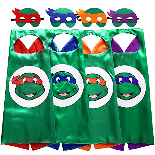 Zaleny Superhero Cartoon Costumes Kids Dress up Costumes 4 Satin Capes 4 Felt Masks