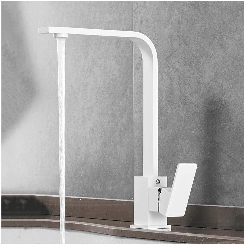 WB_L Küchenarmatur Spültischarmaturen Wasserhahn Mischbatterie, Kupfer Küchenarmaturen Mischer Stahl gebürstet, High Arc Küchenarmatur Schwenkauslauf Wei