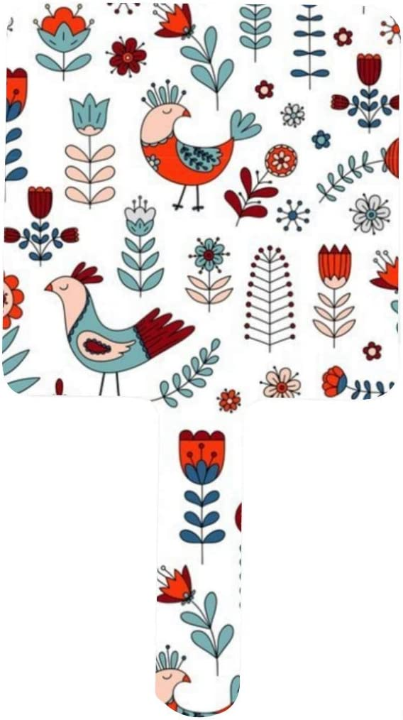Scandi Birds 1 year warranty and Flowers Max 40% OFF Portable Mi Square Handle Makeup Mirror