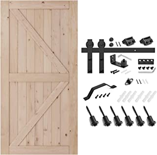 SMARTSTANDARD 42in x 84in Sliding Barn Door with 8ft Barn Door Hardware Kit & Handle, Pre-Drilled Ready to Assemble, DIY Unfinished Solid Hemlock Wood Panelled Slab, K-Frame, Natural