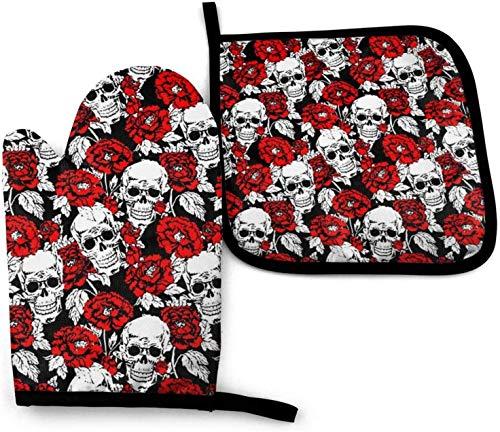 AOOEDM Oven Mitts and Pot Holders Sets Zombie Skull Horror Pattern Juego de manoplas y soportes para ollas, Guantes de cocina resistentes al calor para cocinar, hornear, barbacoa, parrilla