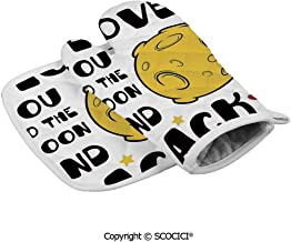 SCOCICI Oven Gloves Microwave Gloves Moon Surface Romance Big Love Galactic Partners Valentines Barbecue Gloves Kitchen Cooking Bake Heat Resistant Gloves Combination