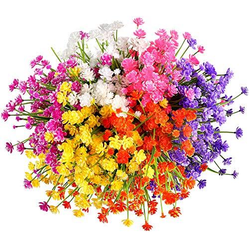Omldggr 12 buntar konstgjorda blommor, utomhus konstgjorda blommor plastblommor falska grönska buskar växter konstgjorda liljor inomhus utomhus hängande planterare hem bröllop trädgård dekor (6 färger)