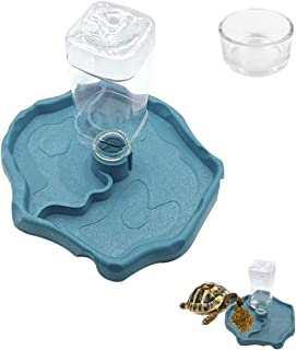 IAFVKAI Reptile Feeder 2 in 1 Automatic Food Water Feeding Dish Automatic-refilling Turtle Water Dispenser Bottle and Smal...