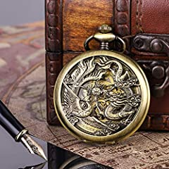 ManChDa Pocket Watch Lucky Dragon & Phoenix Vintage Mechanical Steampunk Skeleton Roman Numerals Black Fob Watch with Chain for Men Women #5