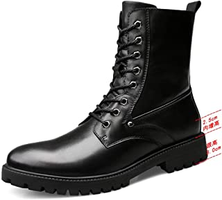 2018 New Arrival Men Boots Men's Casual Mid-Calf Boots New Style Outdoor Faux Fleece Inside Hidden High Heel Army Boots(Conventional Optional)