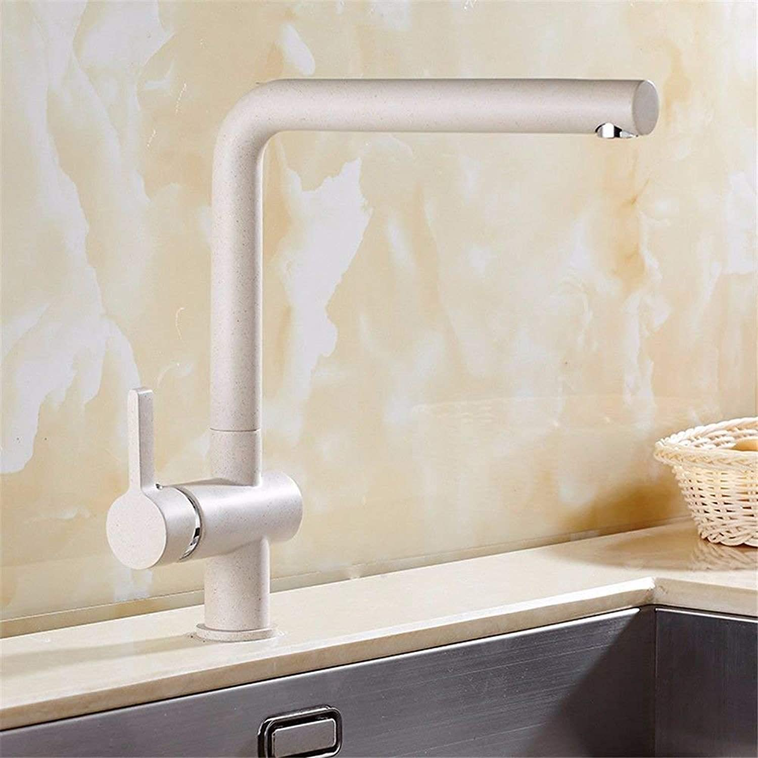 Oudan Kitchen bath basin sink mixer tap faucet white sink mixer stainless steel basin mixer tap hot and cold water pull-out spout head solid brass sink faucet (color   -, Size   -)