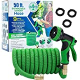 Lincette Expandable Garden Water 50 Ft. Hose - Flexible Durable Hose for Yard & Outdoor with 9 Function Spray Nozzle, 3/4' Solid Brass Valves & Fittings, Extra Strength Waterhose with Storage Bag