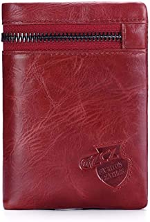 Mens Leather Bag Men's Purse Short Vintage Leather Change Jacket Layer Cowhide Zipper Bag Bag (Color : Red, Size : S)