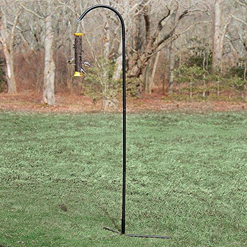 Droll Yankees Shepherd Hook, Bird Feeder Hanger Pole Outdoor Hanging Metal Stand, 77 Inch, Black, SEP