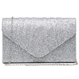 Dasein Womens Evening Bags Glittery Pleated Clutch Handbags Envelope Purses for Prom Party Wedding Bridal Silver