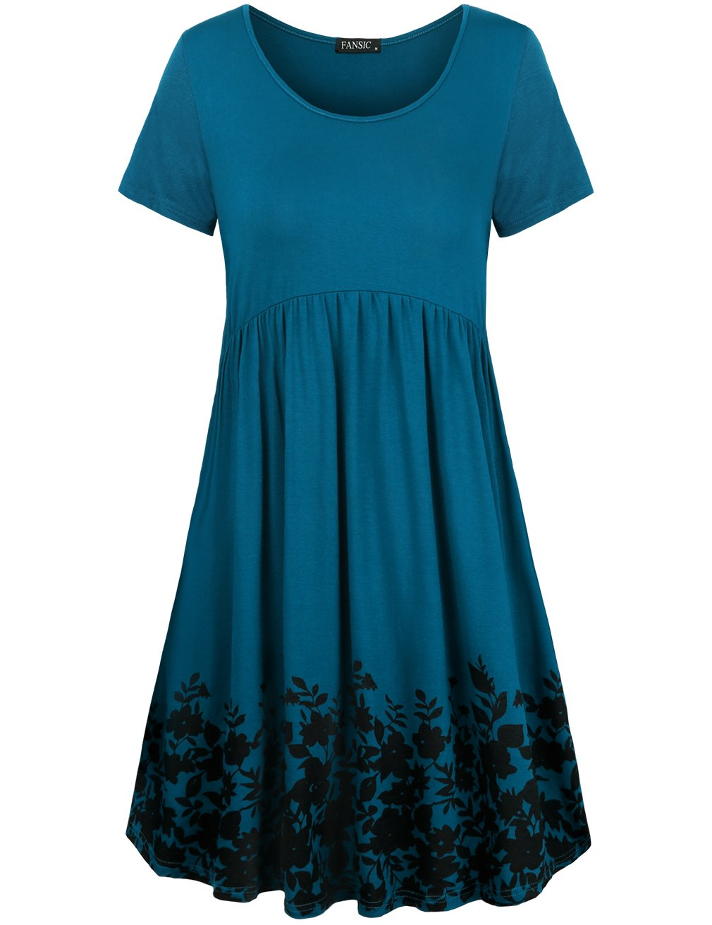 Available at Amazon: FANSIC Women's Long Sleeve Floral Printed Pleated Swing Midi Dress Short Sleeve with Pockets