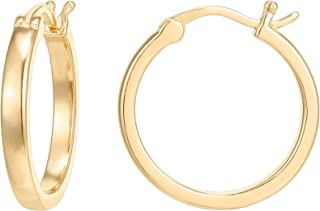 PAVOI 14K Gold Plated 925 Sterling Silver Post Lightweight Hoops | Gold Hoop Earrings for Women