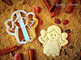 Tiny Christmas Angel Cookie Cutter - Unique Sugarbelle Presents for Holiday - 3d Plastic Angel Cookie Molds - Rolling Angel Biscuit Cookies Embossed - Dough Cutters and Shapes by Sugary Charm