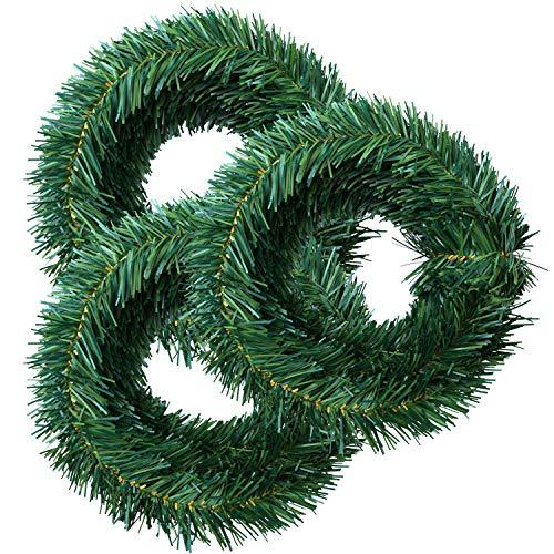 Elcoho Guirnalda de Navidad Artificial de Pino Verde de 137 cm, Guirnalda de Navidad Suave para Navidad o decoración del hogar (3 Rollos por Rollo de 18 pies)