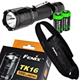 EdisonBright Fenix TK16 1000 Lumens Cree XM-L2 (U2) LED Tactical Flashlight with 2 X CR123A Batteries