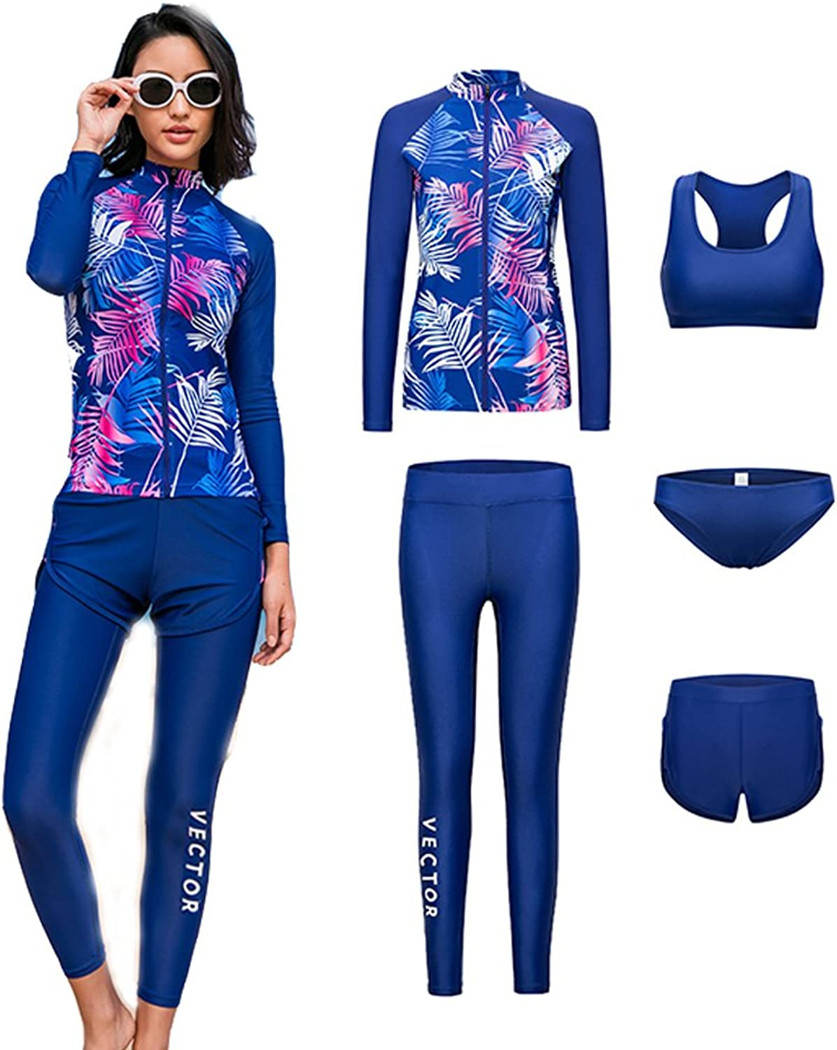 (Large, pink)  Vector 5Pcs Women Long Sleeve Wetsuit Swimsuit Shirt Printed Surfing Pants Diving Snorkelling Suits UPF 50+ UV Sun Predection