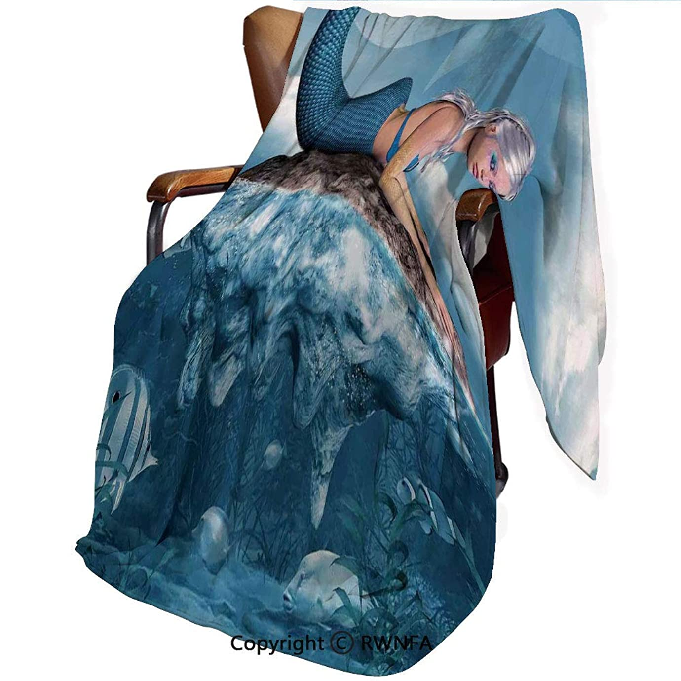マエストロ偏心ジョリー140cmx200cm 毛布 ひざ掛け ブランケット 大判 用 厚手 ブランケット 秋冬用 暖かい もうふ マイクロファイバー 襟付き 洗える ふわふわ 静電防止 人魚 海の神話上のキャラクター ネイビーブルーホワイトの岩の上の人魚の女の子のグラフィックアートプリント