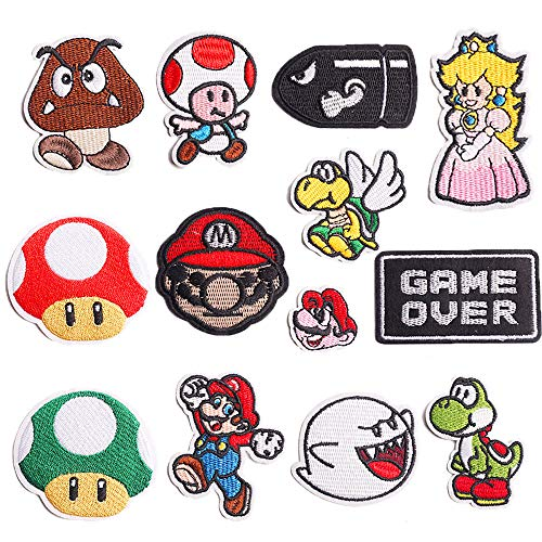 Iron On Patches for Clothing, Embroidered Sew On Super Cute Cartoon Anime Patches for Kids Jackets, Shirts, Backpacks, 13pcs
