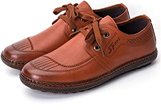 AiHua Huang Driving Loafers for Men Business Casual Shoes Lace up Flat Genuine Leather Burnished Style Anti-Skid Low Top Round Toe Stitching (Color : Brown, Size : 6 UK)