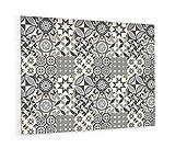 Impression Murale® - Fond de hotte, crédence de cuisine en Panneau composite aluminium avec fixation adhésive'Carreaux de ciments motif géométrique' L. 90 x H. 70 cm - Epaisseur 3 mm