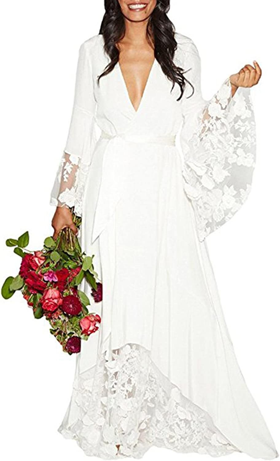 Alilith.Z Sexy Boho Bridal Gowns V Neck Flower Lace Long Sleeve Beach Wedding Dresses for Bride