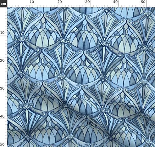 Marineblau, Blau, Art Deco, Diamanten, Farbiges Glas, Jugendstil Stoffe - Individuell Bedruckt von...