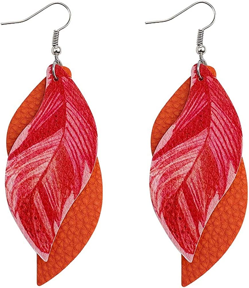 Faux Leather Earrings 2 Layered Lightweight Leather Leaf Earrings Layered Design Drop Handmade Earrings for Women Gift