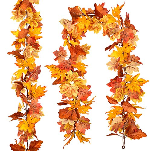 DearHouse 2 Pack Fall Garland Maple Leaf,Hanging Vine Garland Artificial Autumn Foliage Garland Thanksgiving Decor for Home (Yellow Maple)
