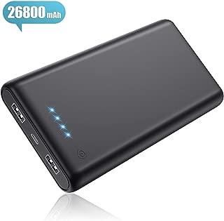 モバイルバッテリー 26800mAh 大容量 【PSE認証済 急速充電】 2USB出力ポート LED残量表示 携帯充電器 Android/iPhone/タブレット対応 黒