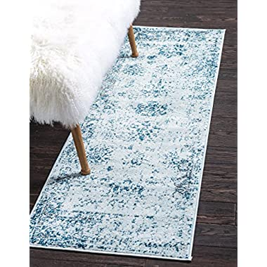 Unique Loom Sofia Collection Traditional Vintage Light Blue Home Décor Runner Rug (2' x 7')