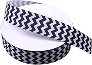 Black and White Chevron Ribbon, Stripe Printed Grosgrain Ribbon 1 Inch, 25 Yards Christmas Fabric Ribbon for Presents Gift Wrapping Party Wedding Holiday Decoration Sewing Crafts
